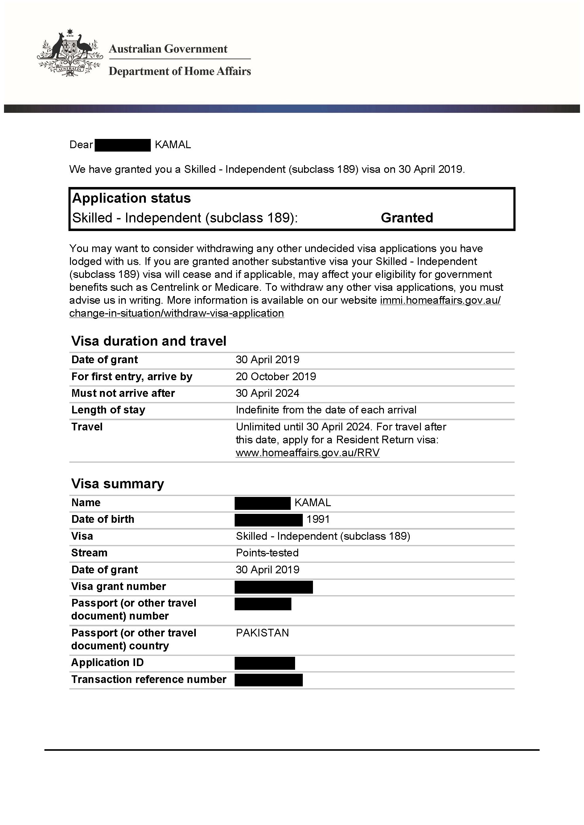 IMMI Grant Notification – 189 Kamal_Redacted