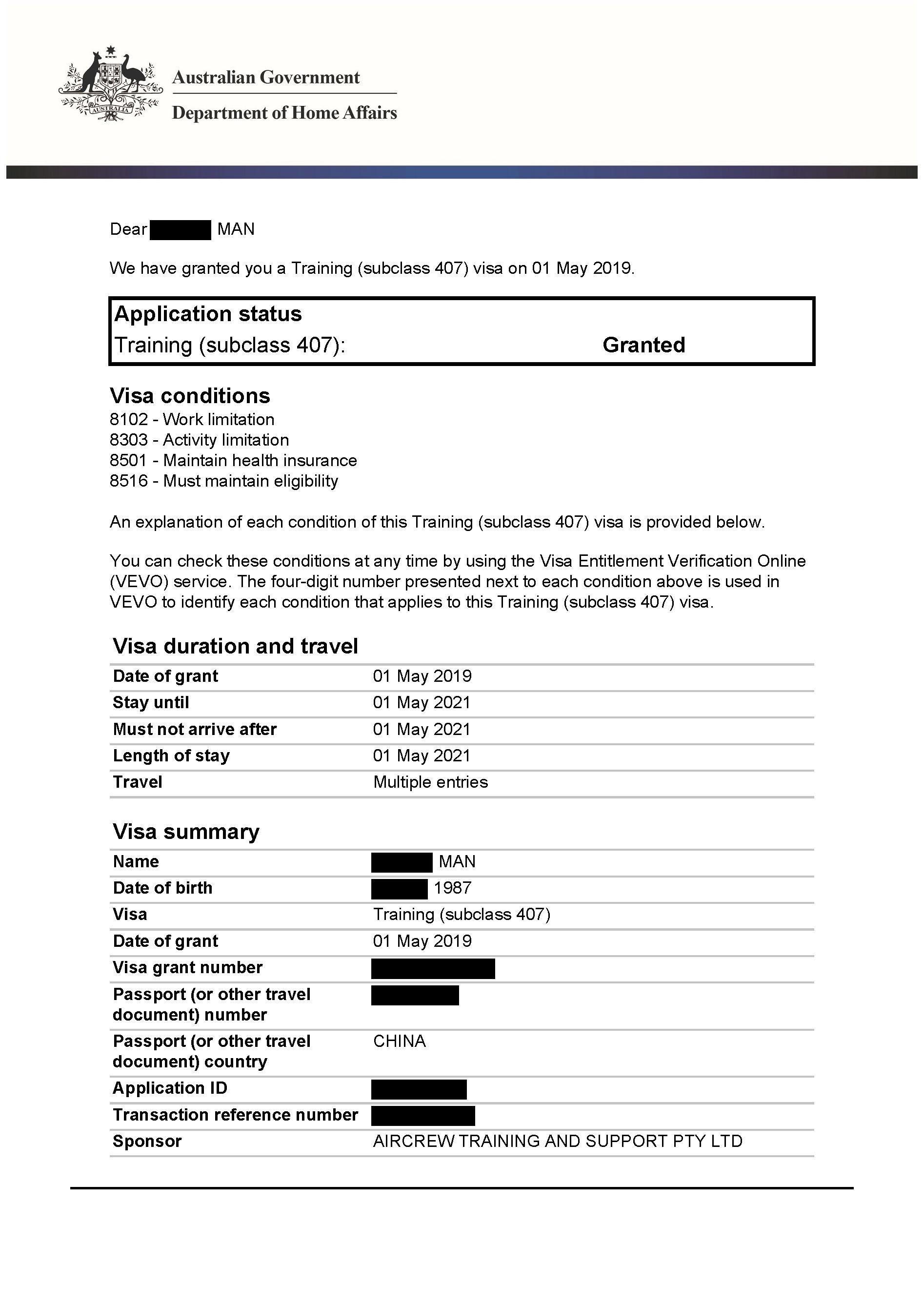 IMMI Grant Notification – 407 Man_Redacted