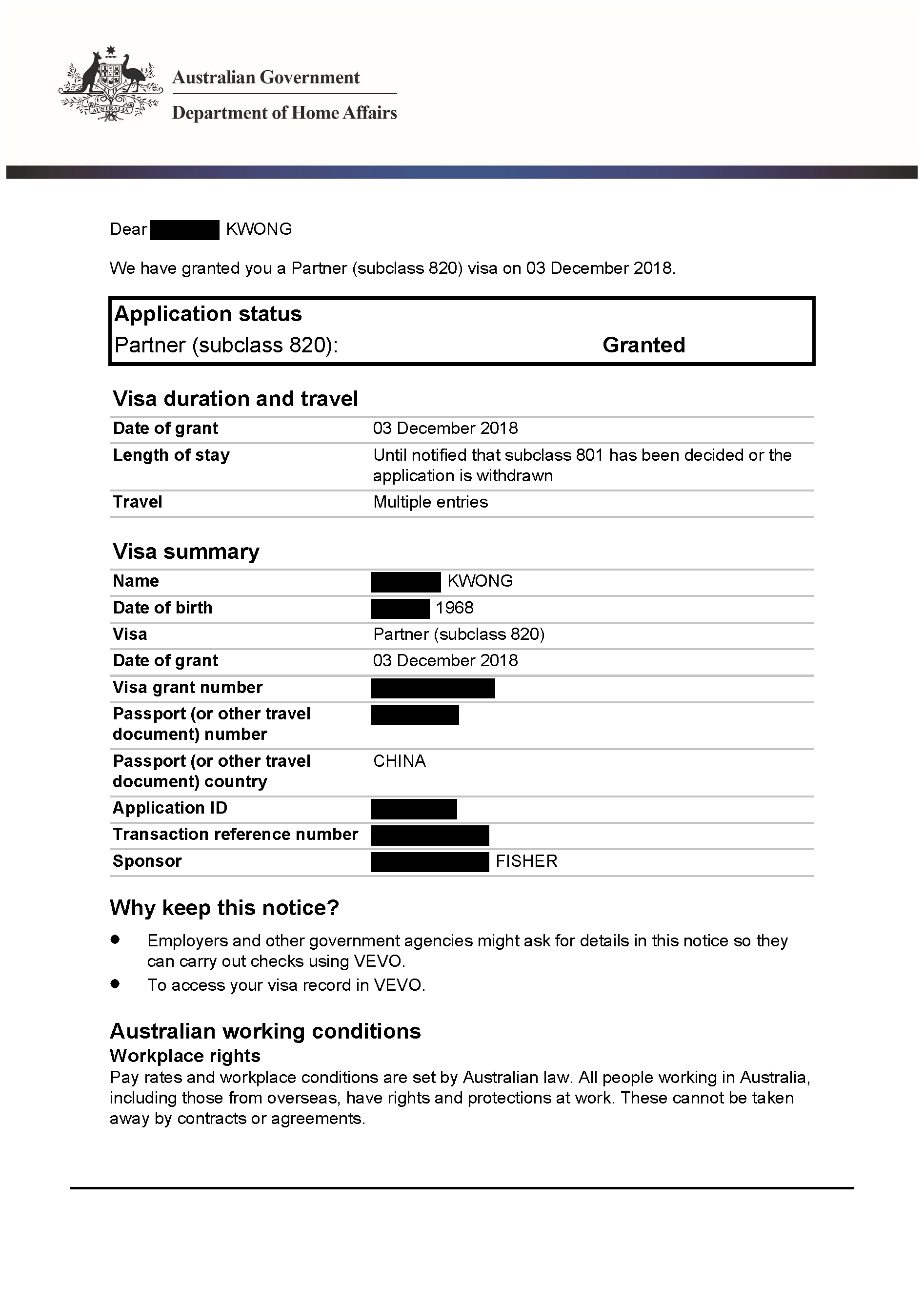 IMMI Grant Notification – 820 Kwong_Redacted