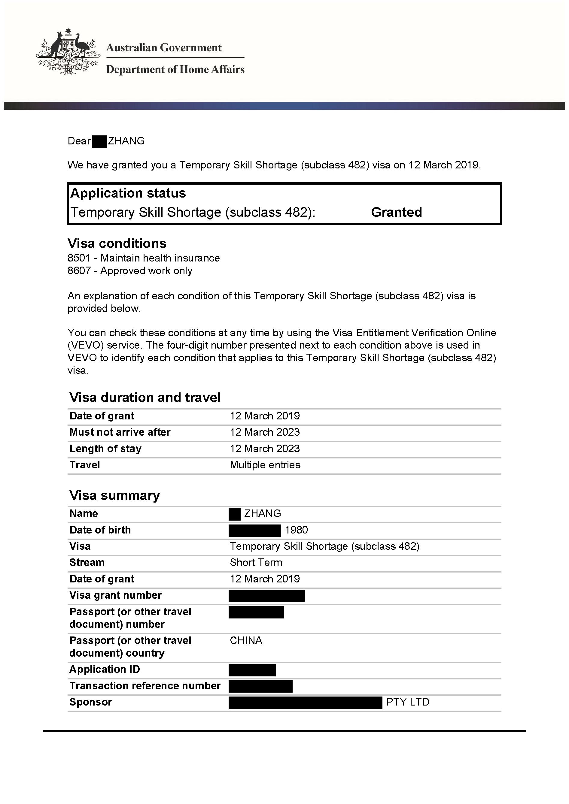 IMMI Grant Notification – TSS Zhang_Redacted